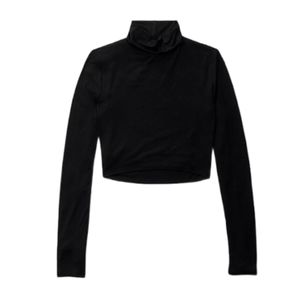 Aritzia Talula Black Crop Turtleneck Long Sleeve